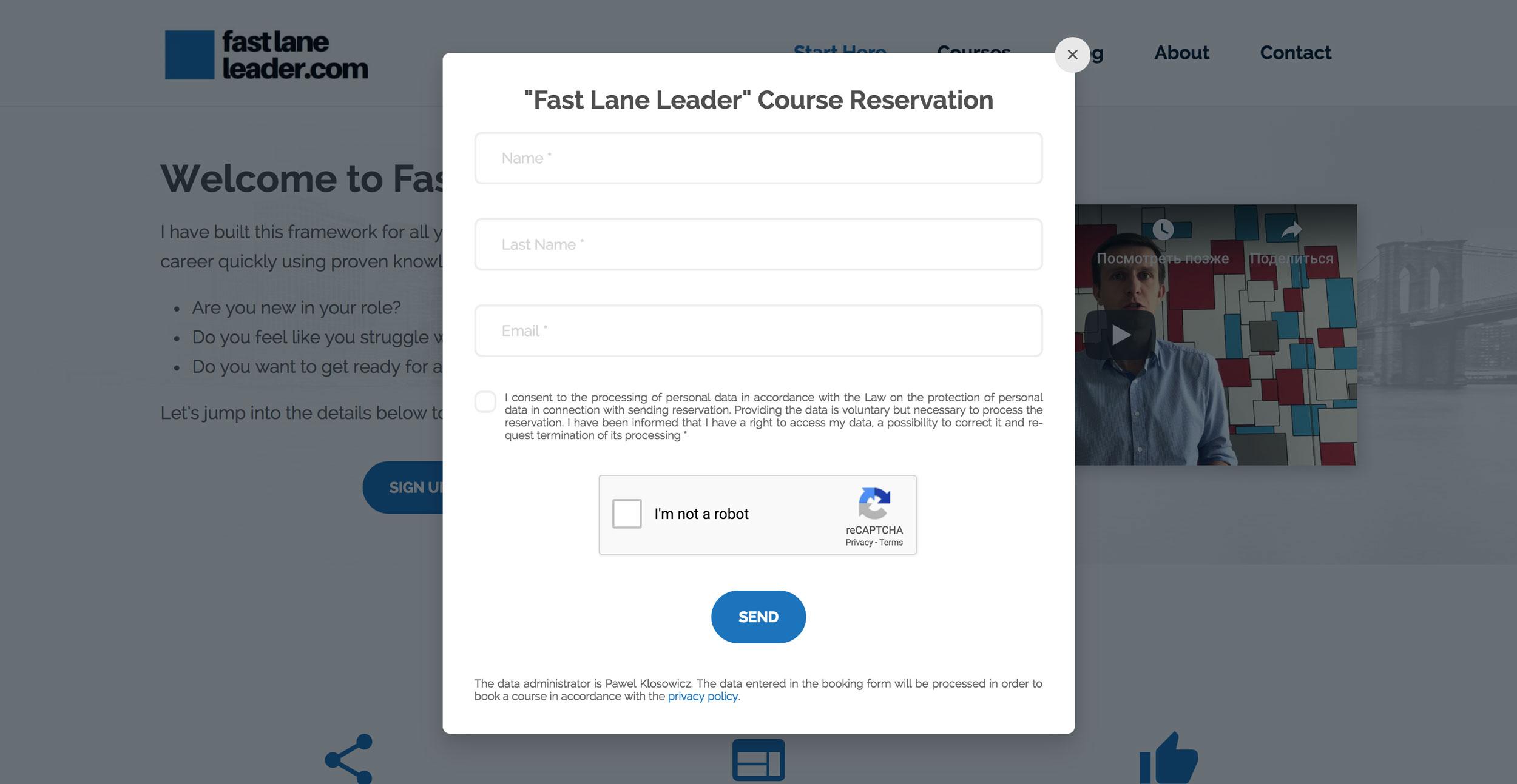 Fast Lane Leader - Formularz