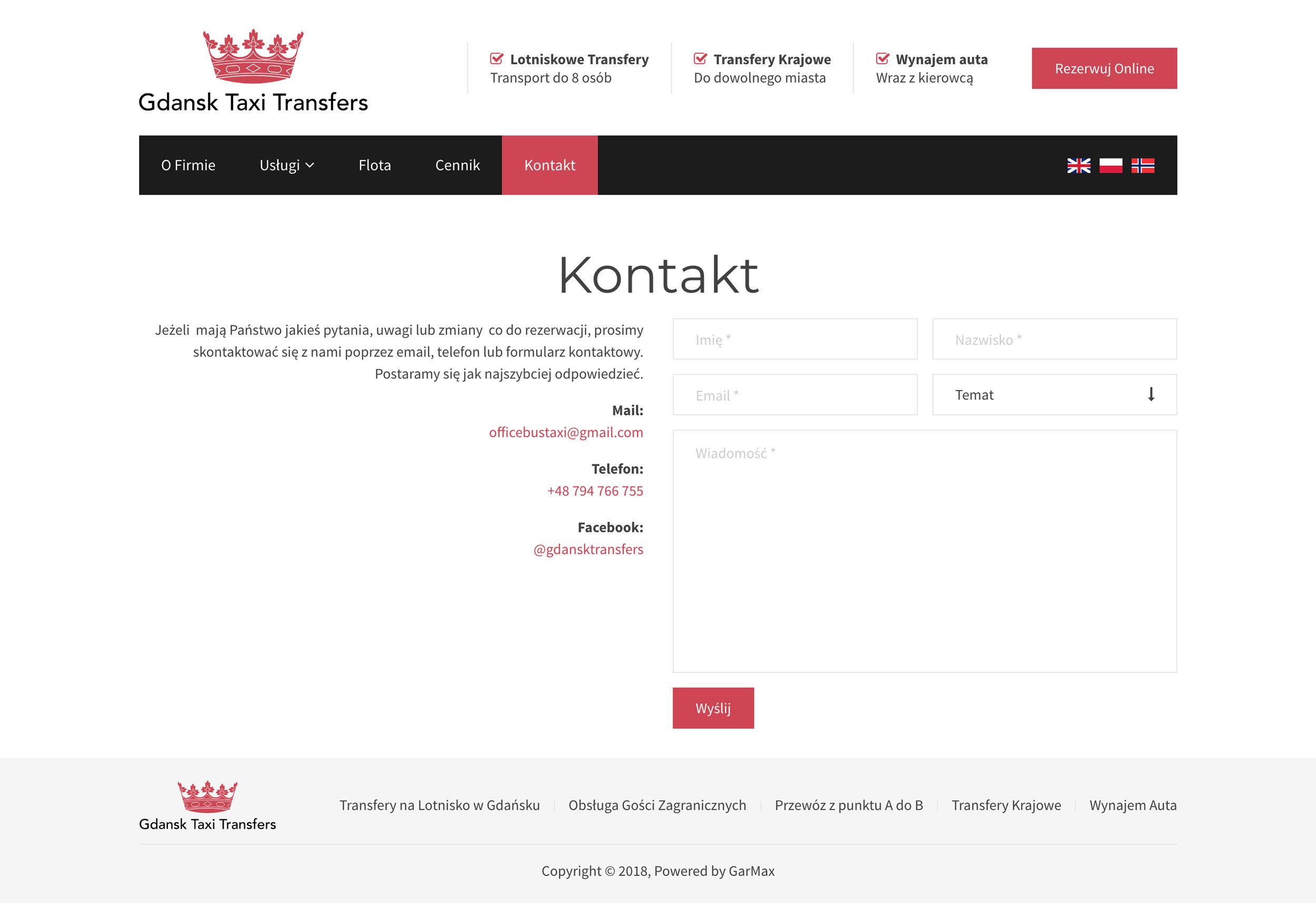 Gdańsk Taxi Transfers - Kontakt