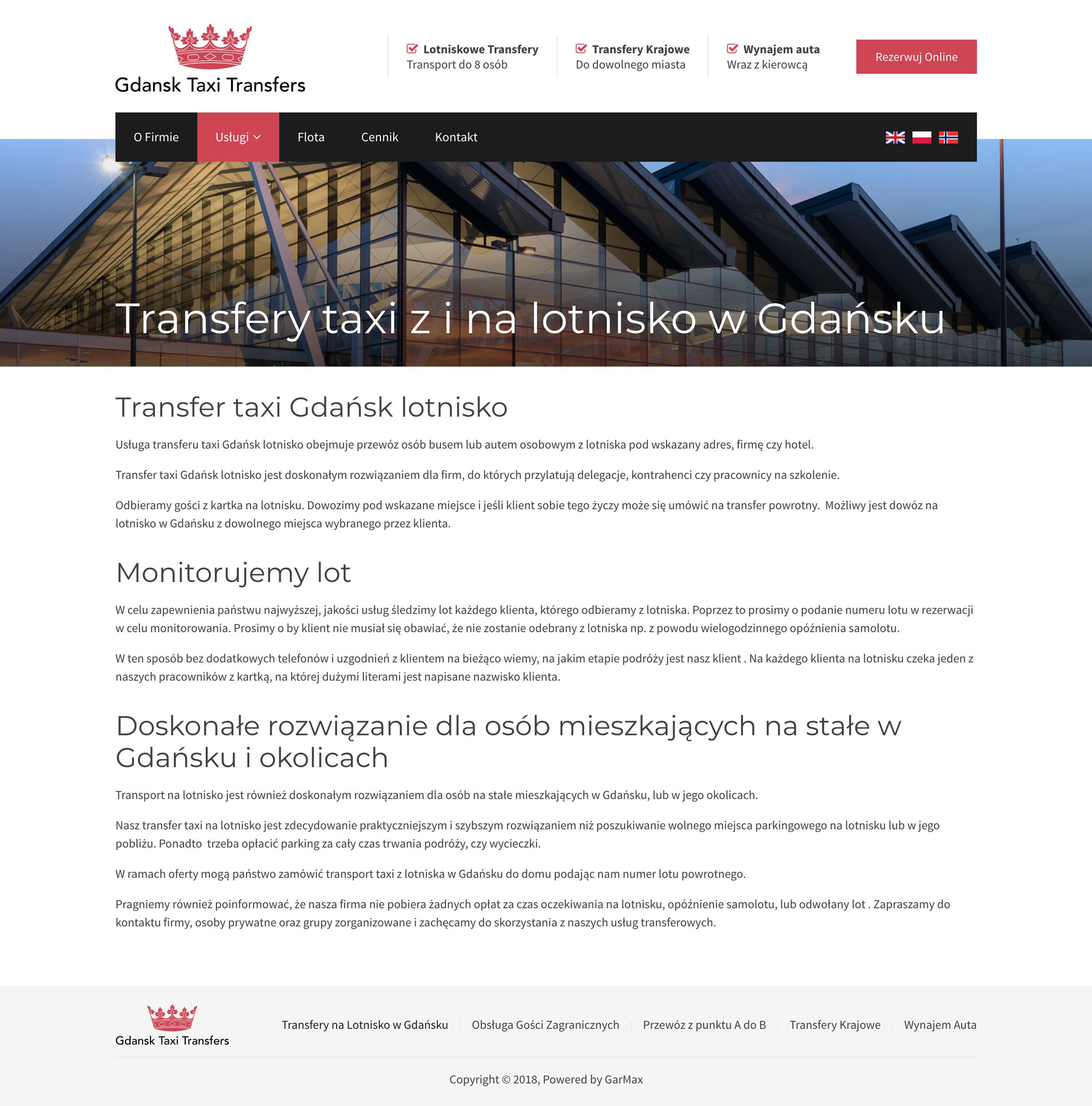 Gdańsk Taxi Transfers - Usługa