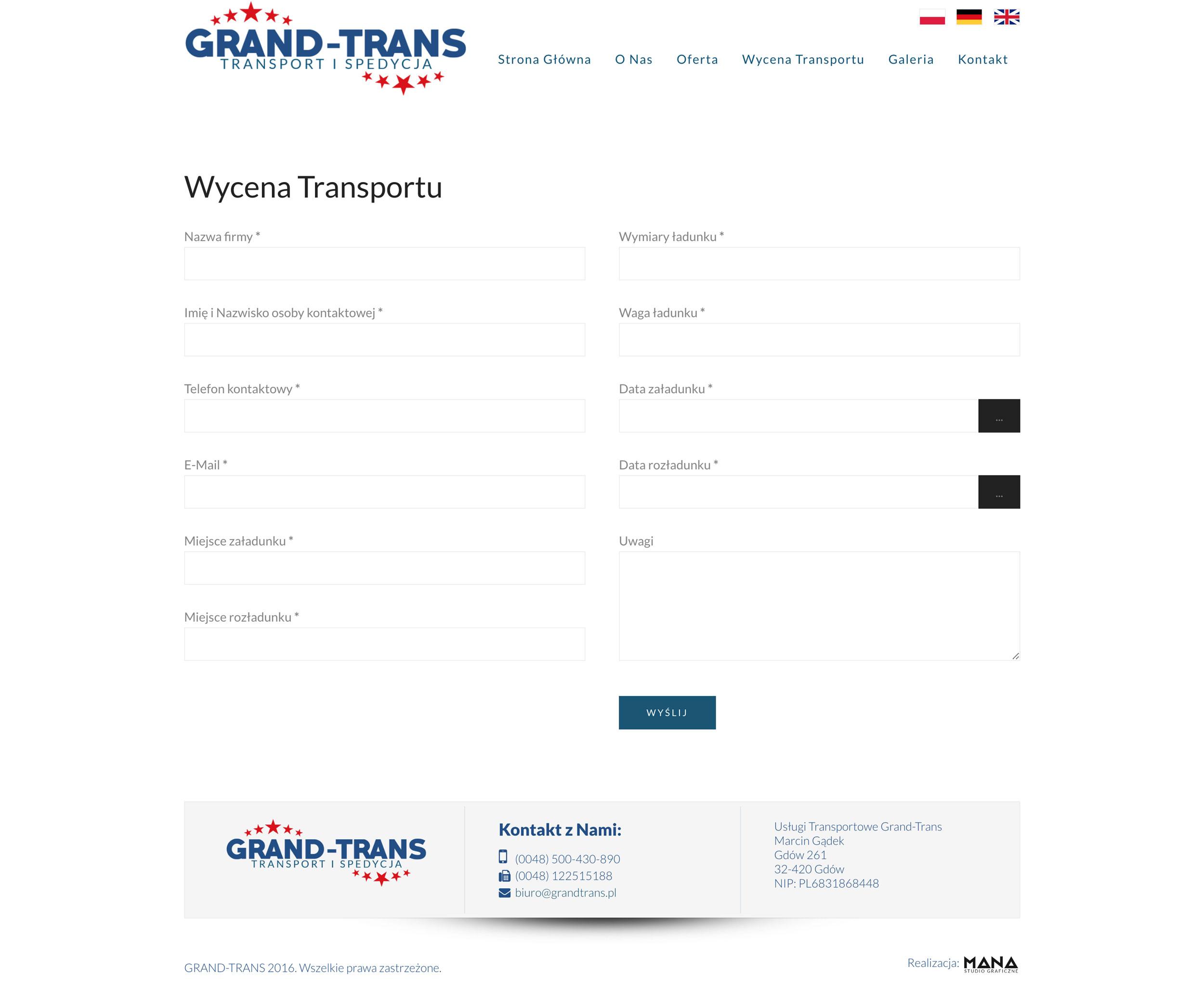 Grand-Trans - Wycena Transportu