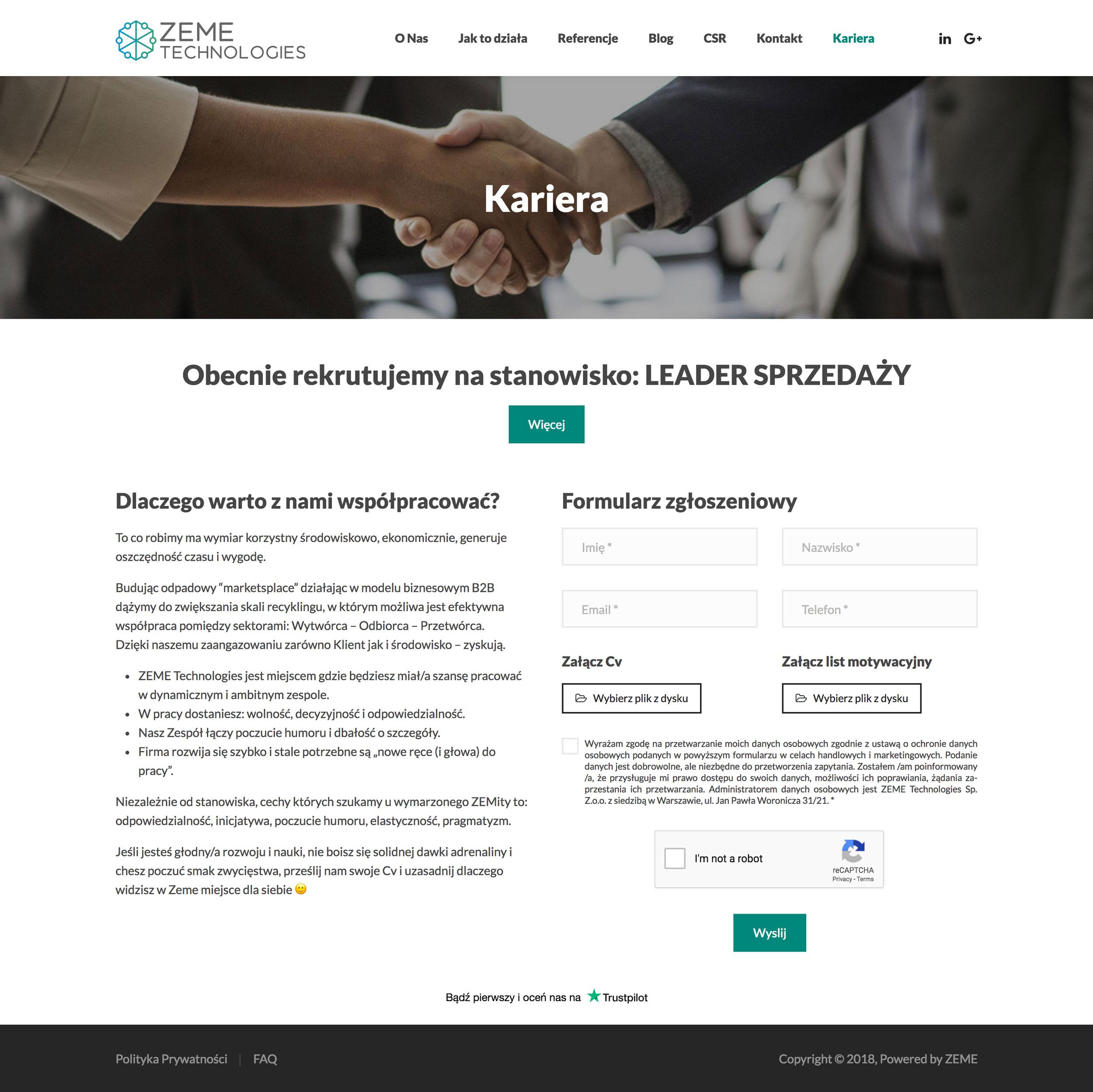 ZEME Technologies - Kariera
